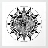 Maritime Marbled Star Motif Art Print