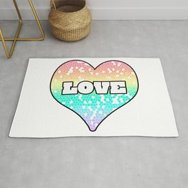 Pastel Love Mosaic FIlled Heart Graphic Design  Rug