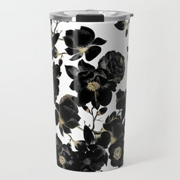 Modern Elegant Black White and Gold Floral Pattern Travel Mug