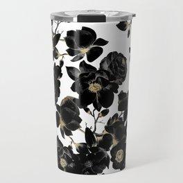 Modern Elegant Black White and Gold Floral Pattern Travel Mug