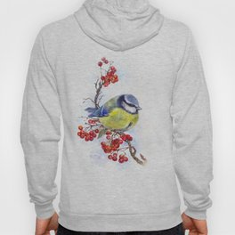 Watercolor Titmouse Great tit winter bird Hoody