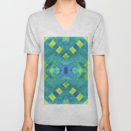 Green and blue geometric abstract motif, hand painted elements Unisex V-Neck