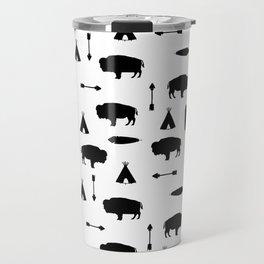 Buffalo Tribe // Solid Black Travel Mug