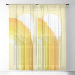 Mid Century Modern Geometric 82 in Shades of Yellow Mustard (Sun and Rainbow abstraction) Sheer Curtain
