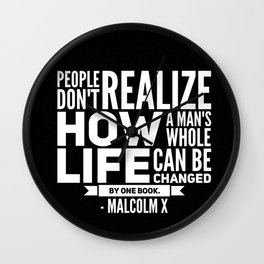 Malcolm X One Book Wall Clock