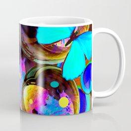 BLUE BUTTERFLIES & IRIDESCENT ORBS ART Coffee Mug