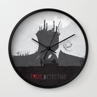 true detective Wall Clocks featuring True Detective by Geminianum