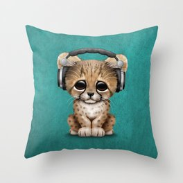 Cute Cheetah Cub Dj Wearing Headphones on Blue Throw Pillow