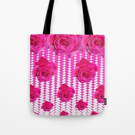 ABSTRACTED CERISE PINK ROSES GARDEN ART Tote Bag