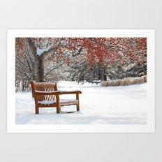 Winter Bench and Crabapple Tree Art Print
