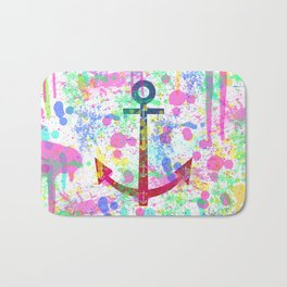 Modern abstract colorful watercolor nautical anchor splatters Bath Mat