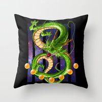 dragon ball z Throw Pillows featuring Dragon by TxzDesign