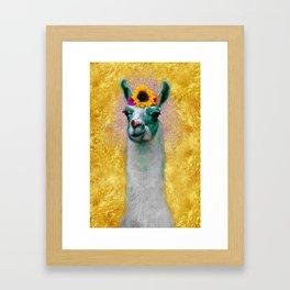 Flower Power Llama Framed Art Print