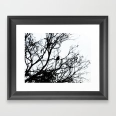 Dove Bird & Winter tree Silhouette Framed Art Print