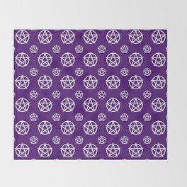 Dark Purple White Pentacle Pattern Throw Blanket