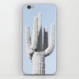 blue with black and white cactus iPhone Skin