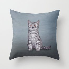 Drawing funny kitten Throw Pillow
