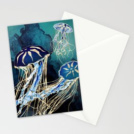 Metallic Jellyfish III Stationery Cards
