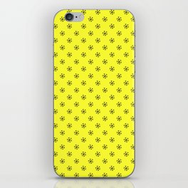 Black on Electric Yellow Snowflakes iPhone Skin
