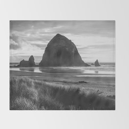 Cannon Beach Sunset - Black and White Nature Photography Throw Blanket