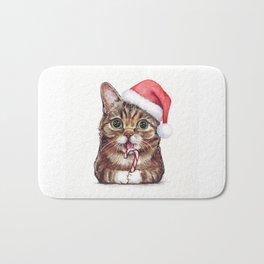 Christmas Cat in Santa Hat Whimsical Holiday Animals Bath Mat