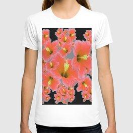 BLACK-GREY CORAL COLOR HIBISCUS ART T-shirt