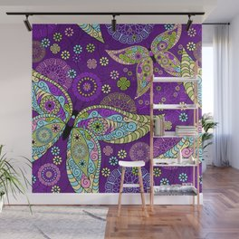 Colorful Butterflies and Flowers V5 Wall Mural