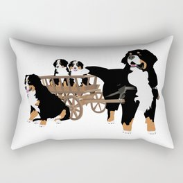 Family of Bernese Mountain Dogs with Wooden Wagon Rectangular Pillow