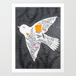 floral bird on grey illustration Art Print