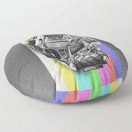 retro tech skull 3 Floor Pillow
