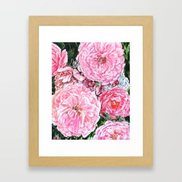 CELEBRATIONS - PEONIES GALORE- Original Fine art floral painting by HSIN LIN / HSIN LIN ART Framed Art Print