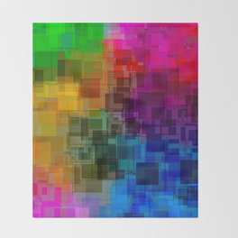 Vibrant Rainbow Geometric Pattern Throw Blanket