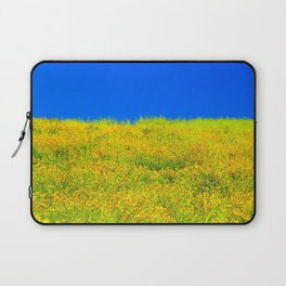 yellow poppy flower field with green leaf and clear blue sky Laptop Sleeve