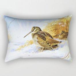 Archibald Thorburn - Winter Woodcock - Digital Remastered Edition Rectangular Pillow