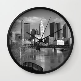 Columbus Ohio 3 - B&W Wall Clock