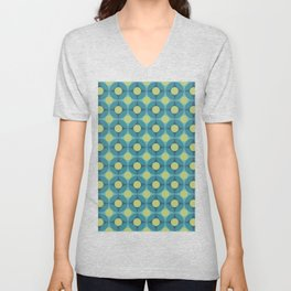 Geometric Circle Pattern Mid Century Modern Retro Blue Green Unisex V-Neck