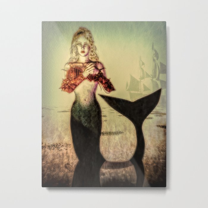 The Lonely Mermaid Metal Print