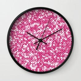 Pink Yarrow Pixels Wall Clock