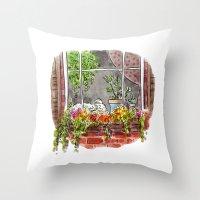 shih tzu Throw Pillows featuring Shih Tzu by Renee Kurilla