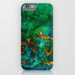 Emerald And Blue Glitter Marble iPhone Case