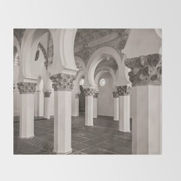 The Historic Arches in the Synagogue of Santa María la Blanca, Toledo Spain (2) Throw Blanket
