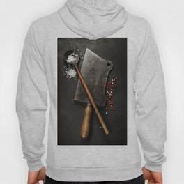 old wooden spoon and Meat cleaver knife on dark background Hoody