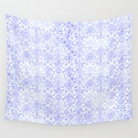 damask Wall Tapestries featuring Periwinkle Damask by Simply Chic