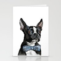 boston terrier Stationery Cards featuring Boston Terrier by Orestis Lazos
