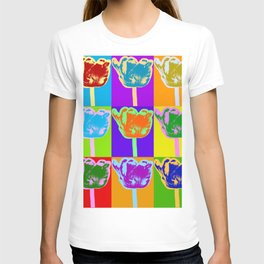 Poster with flower picture in pop art style T-shirt