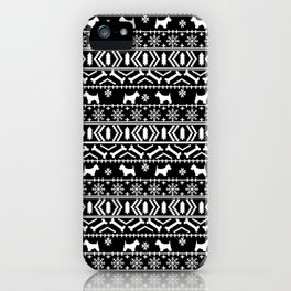 Westie fair isle west highland terrier christmas holiday gifts dog pattern black and white iPhone Case