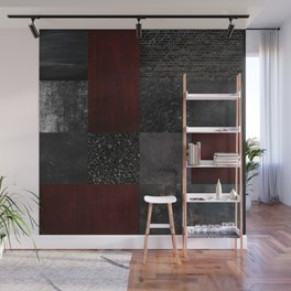 Patchwork (Burgundy + Black) Wall Mural