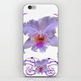 WHITE CATTLEYA ORCHIDS & PURPLE  ART iPhone Skin