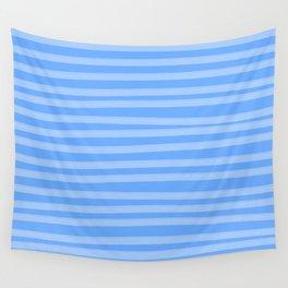 Sky Blue Brush Stroke Stripes Wall Tapestry