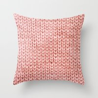 knit Throw Pillows featuring Knit by Melissa Jackson